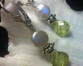 Lime Luscious Coin Pearl  - Sterling Silver, Lime CZ, White Coin Pearl Earrings