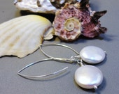 Full Moon Earrings - Sterling Silver and White/Ivory 7-8mm Coin Pearls, June Bride, Bride's Maids Gifts