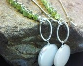 Full Moon Rising - Peridot, Sterling Silver and White Coin Pearl Earrings
