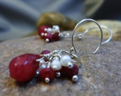 Ruby Won't You Be Mine - Ruby and White Pearl on Sterling Silver Artisan Handmade Earrings