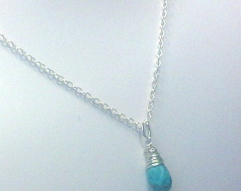 Faceted Turquoise Drop Necklace