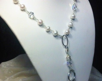 ID BADGE Holder - Necklace - Eye Glass Holder - Crystal and Pearls