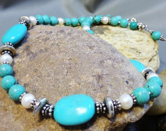 Sale - Turquoise and Pearls Beauty Necklace