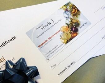 Gift Certificate 250.00 - Layaway - for dbsj - designs by Stevie j