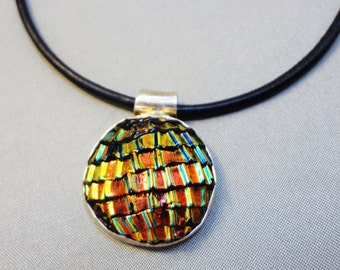 Sunshine Through My Window - Sterling Silver and Very Colorful Fused Glass Pendant