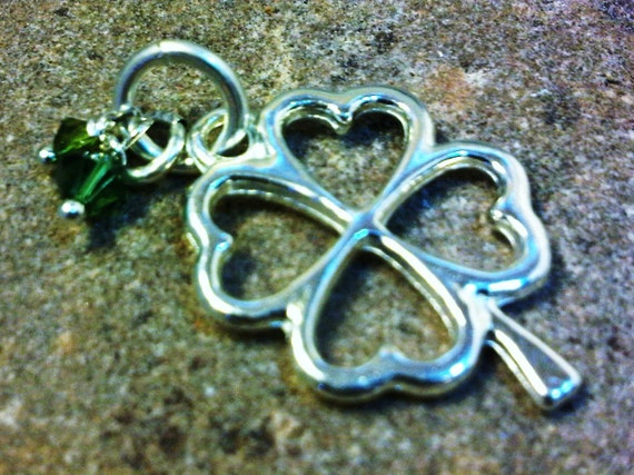Luck Charm - Sterling Silver with Two Swarovski Green Crystals