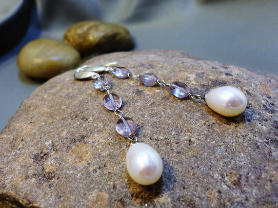 White Pearl and Rose Amethyst Dangle