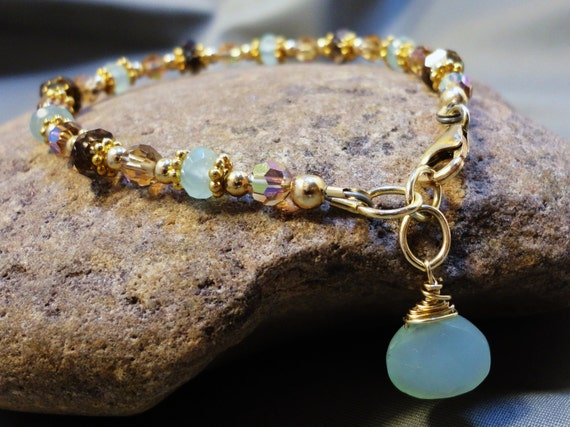 Peruvian Aqua Chalcedony Bracelet - 14k Gold Filled with Smokey Topaz and Swarovski Crystal Topaz AB