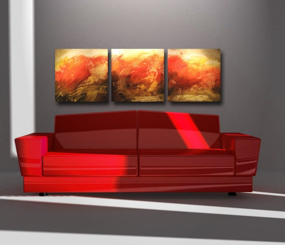 """Abstract Painting ''Movement in Red """"  by Bobbie Mac  20"""" x 60"""" x 1.75"""""""