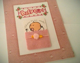BABY GIRL Welcome handmade 3D greeting card