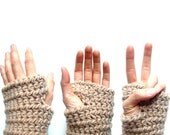 ON SALE Now 42 was 56 - beige fingerless gloves - cork tan - crochet chunky - gadget bicycling - Ready Handmade by dslookkin on Etsy