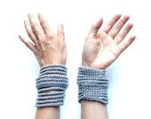 ON SALE Now 35 was 44 - light gray rib cage cuff - fashion bracelet - crocheted vegan acrylic - Ready Handmade by dslookkin on Etsy