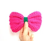 ON SALE Now 36 was 58 - fuchsia and green clip on bow tie - crocheted hot pink - large - Ready Handmade by dslookkin on Etsy