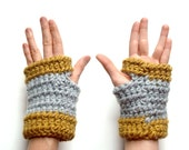 Crocheted fingerless gloves - mustard gray - chunky chic - gadget bicycling - spring fashion - Ready Handmade by dslookkin on Etsy