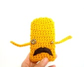 iPhone Case with Mustache - gadget droid - crocheted buttercup mustard brown - steampunk bell - vegan - Ready Handmade by dslookkin on Etsy