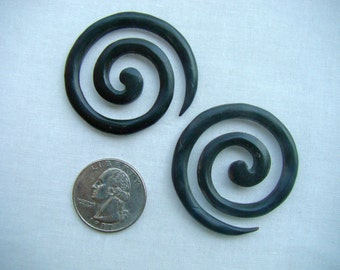 SALE Hand carved Spiral Wood Earrings (Expanders) FREE SHIPPING within the United States