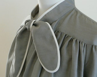 Maternity Blouse in Stone Grey, soft Cotton. FREE SHIPPING! Simply enter coupon code FREESHIPPING11 at checkout.