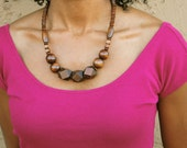 Last One - Dark Brown Chunky Wood Bead Necklace
