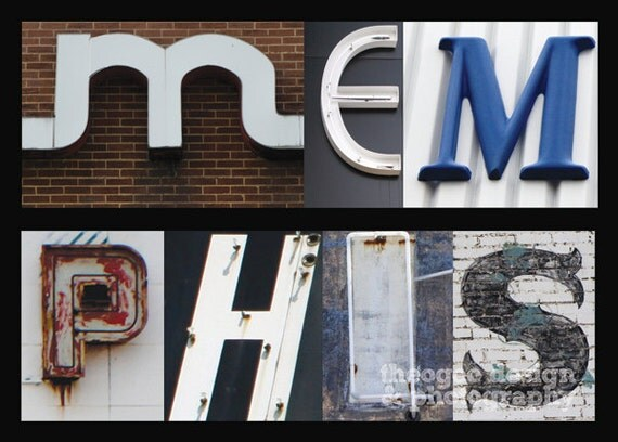 MEMPHIS letter collage 5x7 fine art print - typography, signs, colorful, 901, memphis, mid-south, tennessee, urban, city