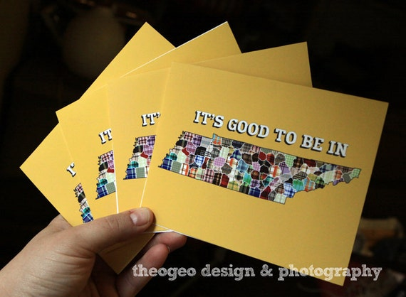 It's Good to be in Tennessee - set of 6 multicolored plaid folded note cards - blank inside - available in light blue and yellow