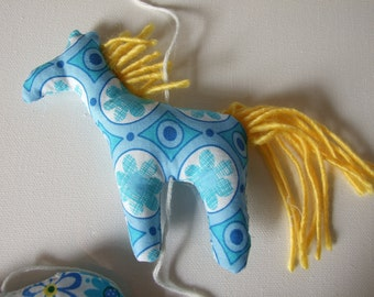 Tiny Animals Garland Mobile Nursery Decor Blue Yellow Horse Hippo Giraffe