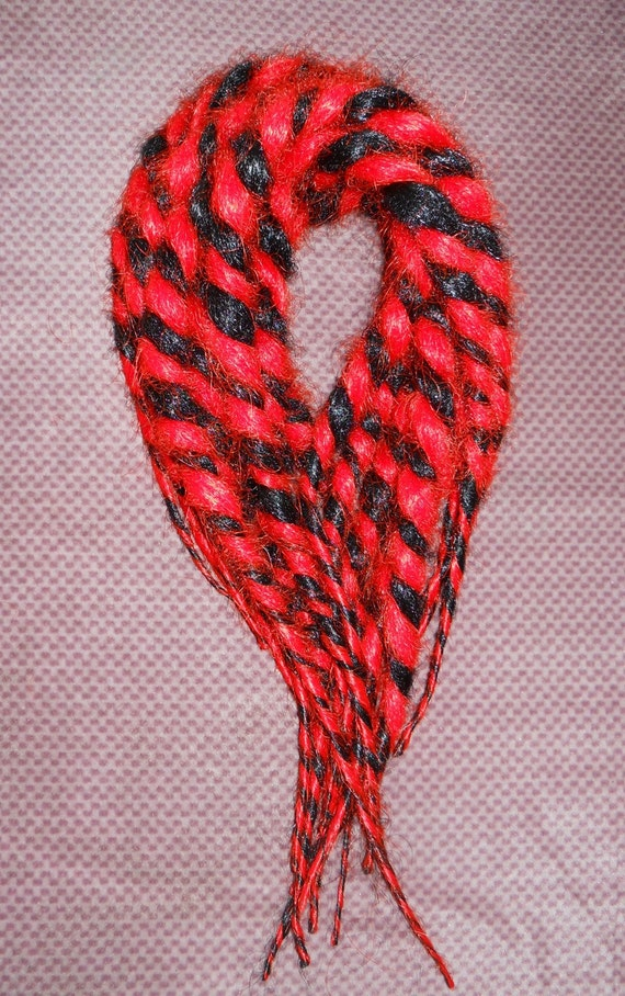Red & Black candy cane accent Dreads