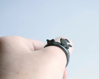 Sterling Silver Black Fish Two Stacking Rings T16