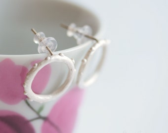 Little Bubbles stud Hoops Earrings White Sterling Dots