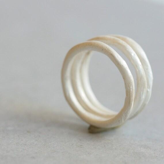 White Silver Stacking Rings. Handmodeled Irregular Sterling T12