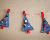 Denim Christmas Tree Decorations - set of three
