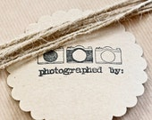 """Vintage Camera  Kraft Paper Tags with """"Photographed By"""" Detail"""