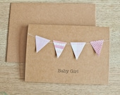 Baby Girl Card -  Pink,  Stitched Mini Bunting Kraft Card