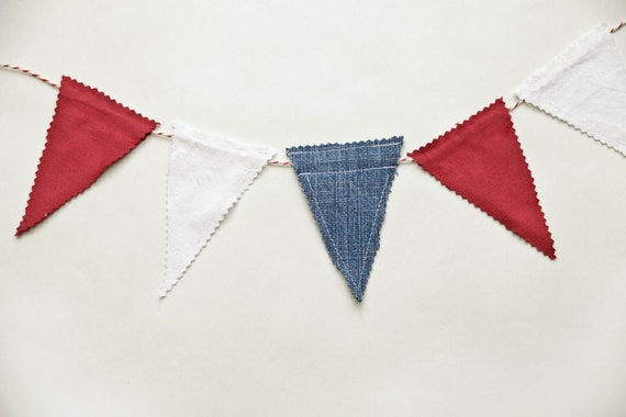 Fabric Bunting/ Garland - Red, White and Blue, Olympics, Jubilee, 4th July