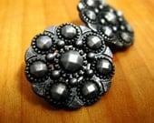 Metal Buttons - Beads Flower Metal Buttons , Black Gunmetal Color , Openwork , Shank , 0.71 inch , 10 pcs
