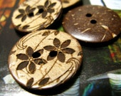 Wooden Buttons - 10 pieces of Japanese Style Khaki Concave  Coconut Buttons with Brown Tawny-Day-Lily pattern. 0.71 inch
