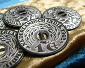 Metal Buttons - 1942 Nederlandsch Indie Silver Coin 2 holes Concave Buttons.With Double-sided Pattern. 1.10 inch. 10 in a set