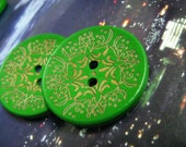 Green Wood Buttons - 8 pieces of Japanese Style Green Concave Wood buttons with Khaki Floral pattern. 1.4 inch