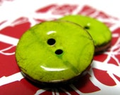 10 Pieces Of Wasabi Color Enamel Buttons With Coconut Base. 0.71 inch
