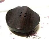 Special Wood Buttons - Brown Wooden Buttons, With Big Wavy Design. 1.10 inch. 10 in a set