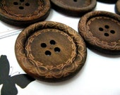 Large Wood Buttons - Beautiful Swirls Decorative Domed Border Cascading Recessed Center Old Wooden Buttons, 1.18 inch (10 in a set)