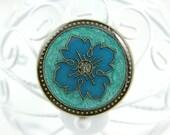 2 Darkturquoise Byzantine Flower Metal Buttons , Flower in Lake Blue Luster Design ,  1.18 inch