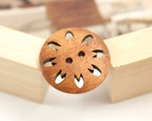 Wooden Buttons - Apricot Color Japanese Style Convex Wood buttons with Sakura Petals Pierce. 0.91 inch, 10 pcs