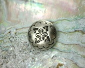 Metal Buttons - Mandala Flower Metal Buttons , Silver Color , Solid Domed , Shank , 0.83 inch , 6 pcs
