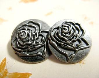 Metal Buttons - Rose Bloom Outline Metal Buttons , Gunmetal Color , Shank , 0.71 inch , 10 pcs