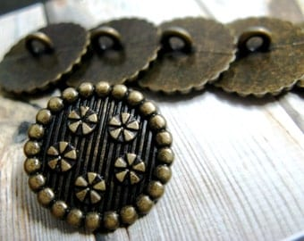 Metal Buttons - Floret Wreath Metal Buttons , Antique Brass Color , Shank , 0.79 inch , 10 pcs