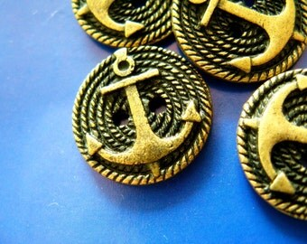 Metal Buttons - Brass Tone Hemp Rope And Anchor buttons. 0.70 inch. 10 pcs