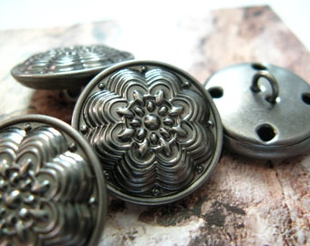 Metal Buttons - Layered Flower Metal Buttons , Nickel Silver Color , Shank , 0.79 inch , 10 pcs
