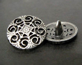 Metal Buttons - Swirl and Flower Metal Buttons , Nickel Silver Color , Shank , 0.79 inch , 10 pcs