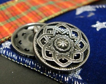 Metal Buttons - Octagram Flower Metal Buttons , Gunmetal Color , Openwork , Shank , 0.91 inch , 10 pcs