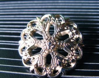 Metal Buttons - Medieval Filigree Metal Buttons , Shiny SIlver Color , Openwork , Shank , 0.79 inch , 10 pcs